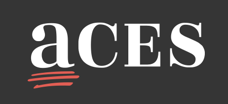 ACES full logo on dark with tagline